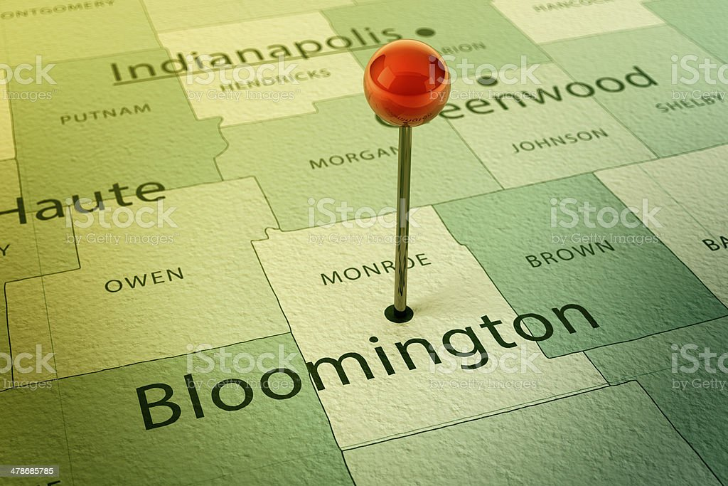 Bloomington Map City Straight Pin Vintage stock photo
