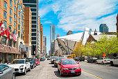 Bloor Street and Royal Ontario Museum in Toronto Canada