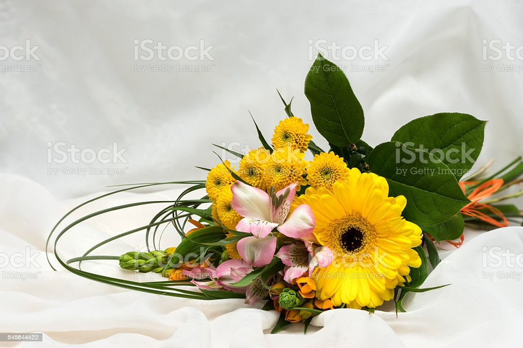 Blossom bouquet. Card with flowers for birthday, anniversary, wedding, celebration stock photo
