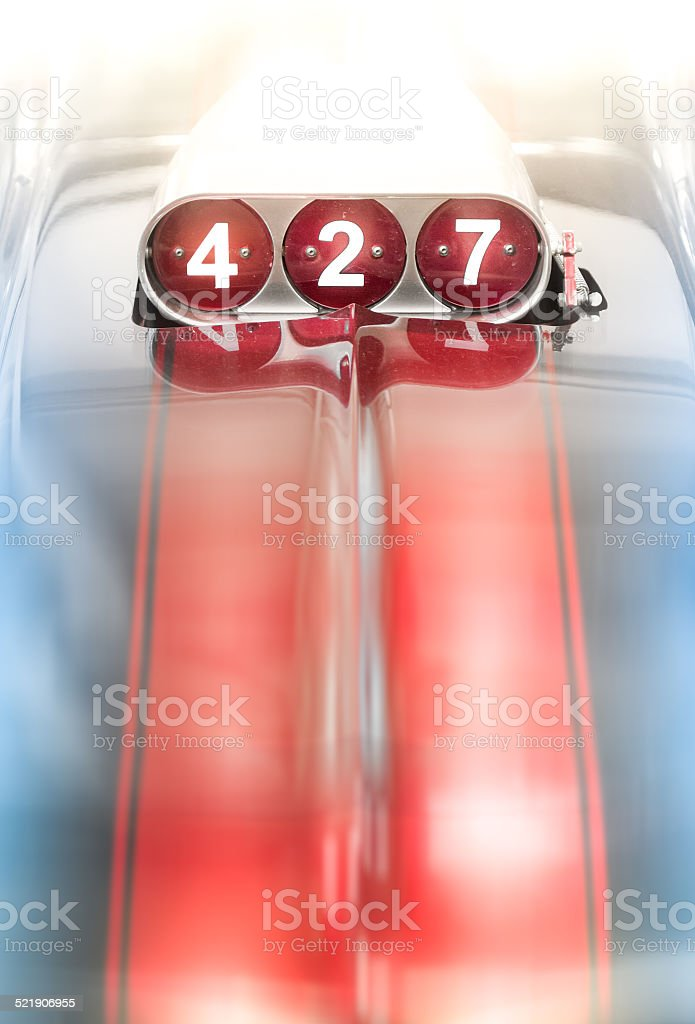 Blower on Classic Car for 427 Cubic Engine stock photo
