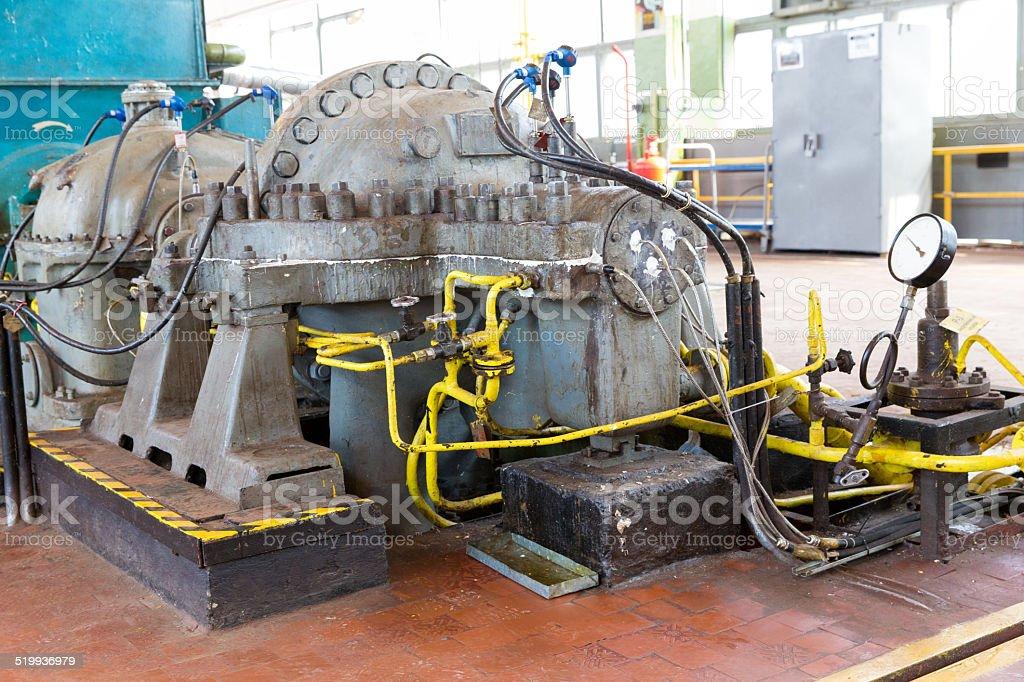 blower, turbine and a pressure gauge stock photo