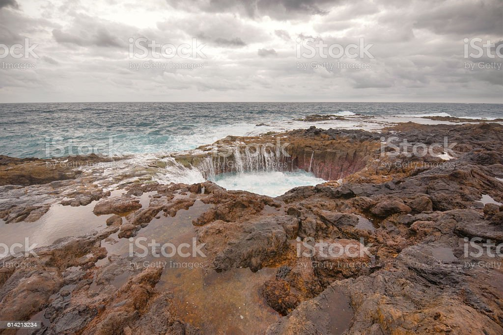 Blowhole, Bufadero de la Garita in Telde, Gran Canaria stock photo