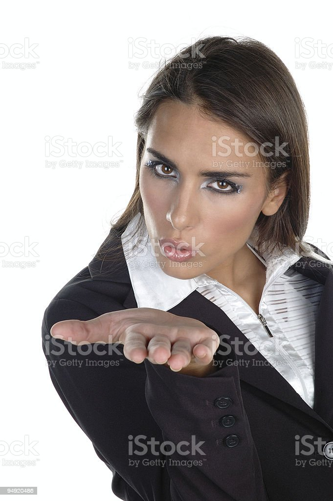 Blowing a kiss stock photo