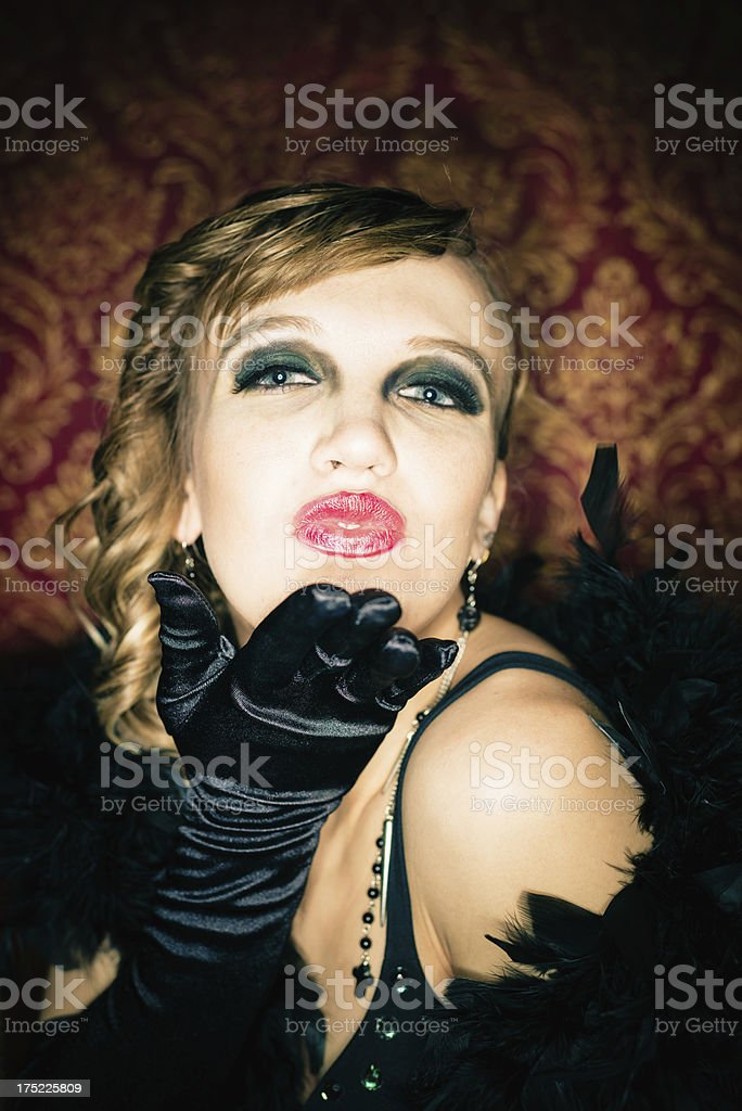 Blowing a Kiss,Girl at Nightclub stock photo