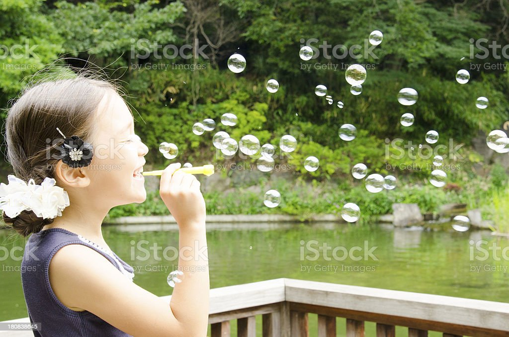Blowing bubble royalty-free stock photo