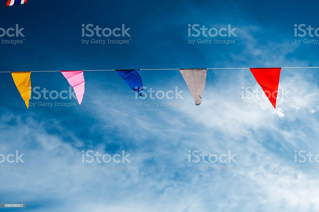 Blowing colorful flag royalty-free stock photo