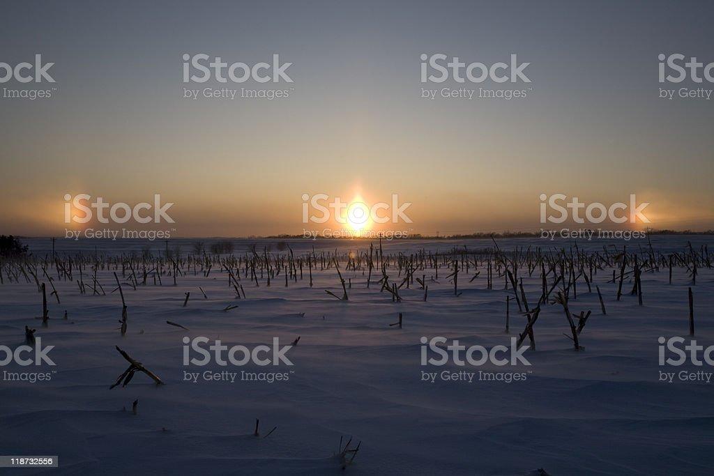 Blowing Ice Crystals Creating Sundogs stock photo