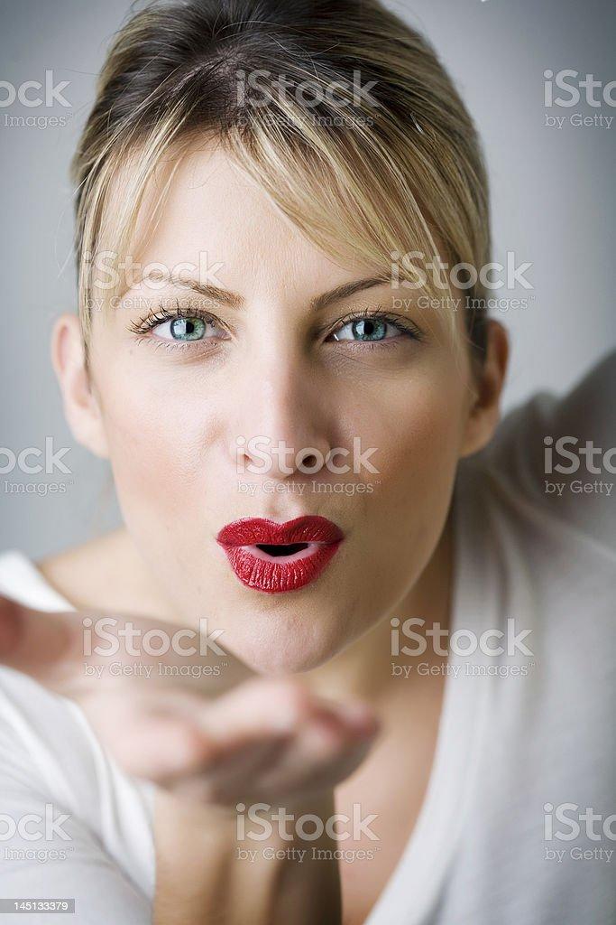 blowing kiss royalty-free stock photo