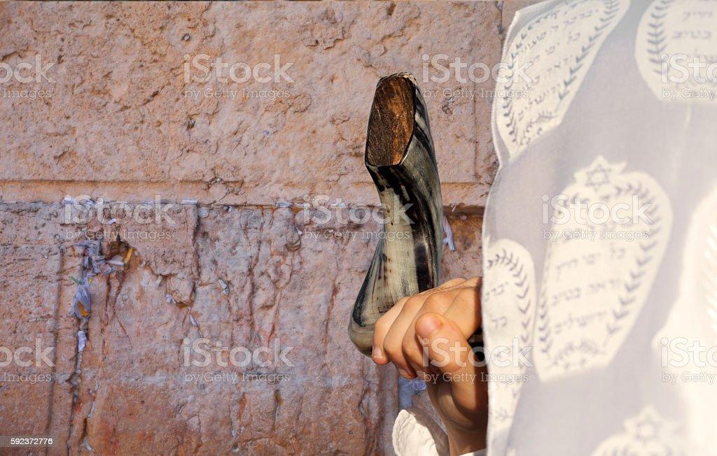 Blowing shofar at Jerusalem Western Wall stock photo