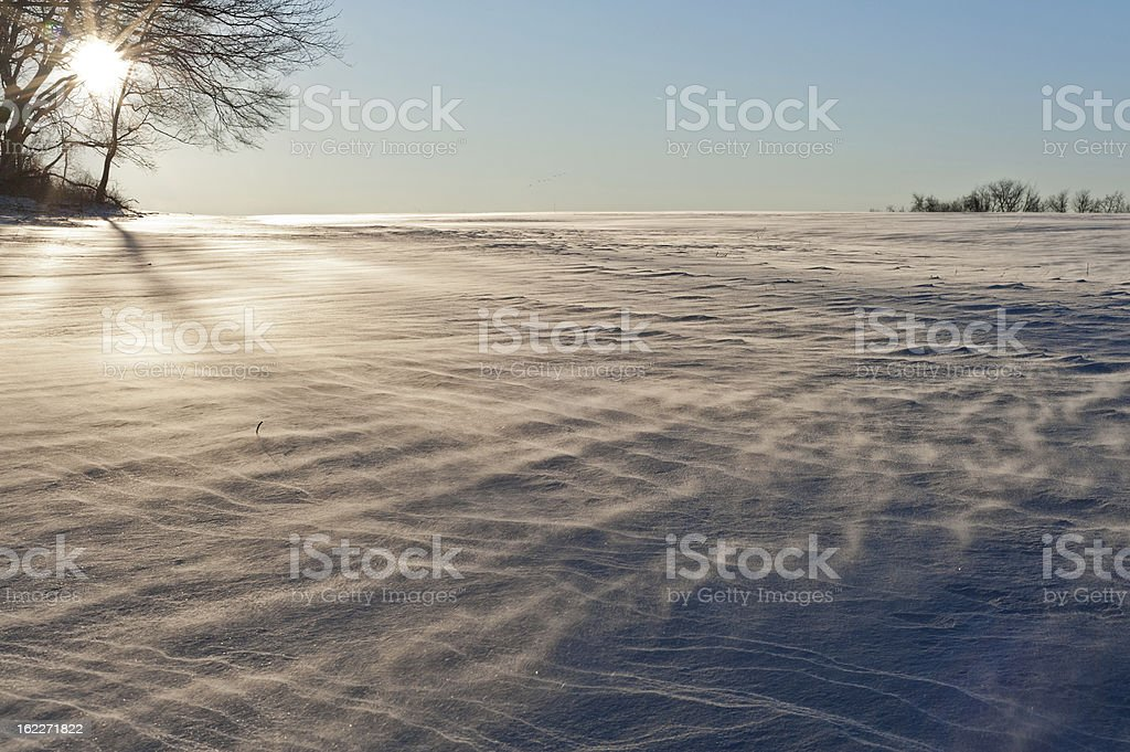 blowing snow across a field royalty-free stock photo