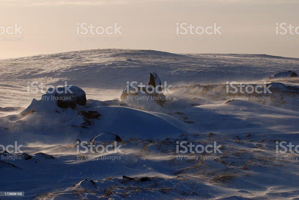 Blowing Snow, Baffin Island. stock photo
