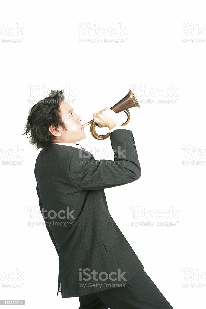 Blowing the business horn royalty-free stock photo