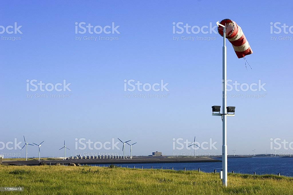 Blowing wind in a Windsock stock photo