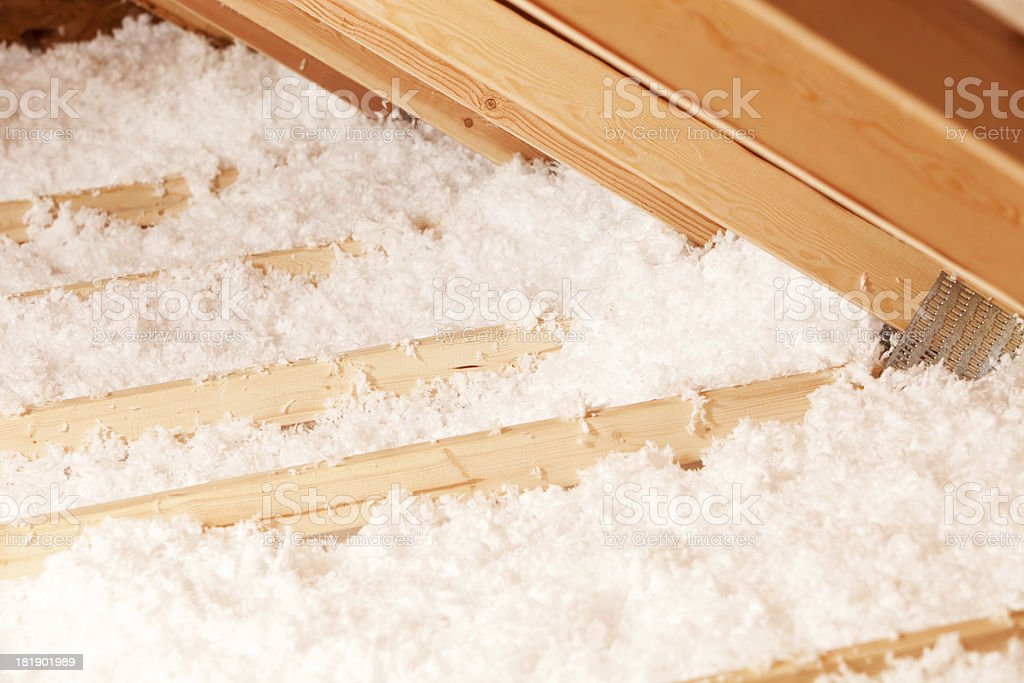 Blown Attic Insulation at Eave Area stock photo