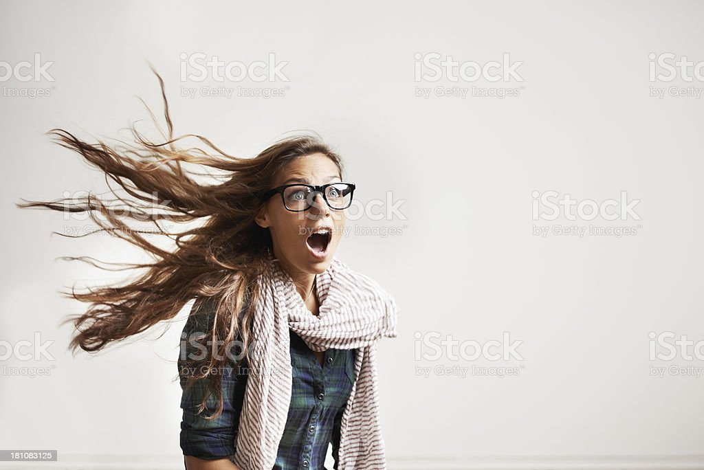 Blown away by the latest fashion trends stock photo