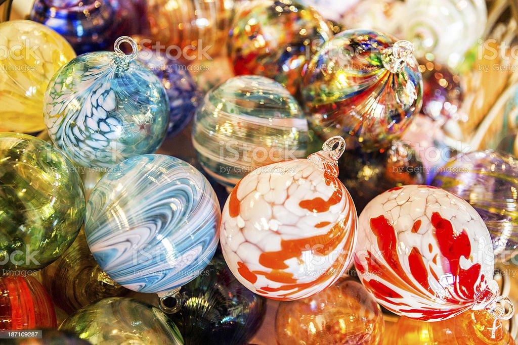 Blown Glass Christmas ball ornaments royalty-free stock photo