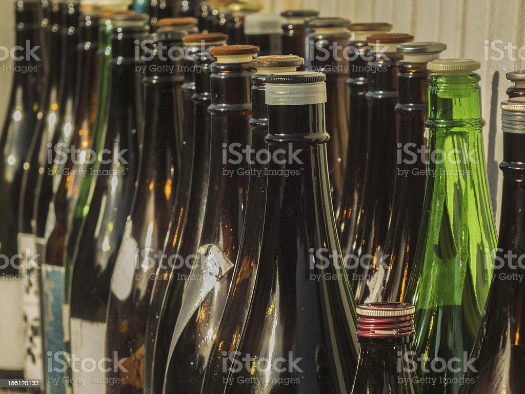 blown sake bottle on sunlight stock photo