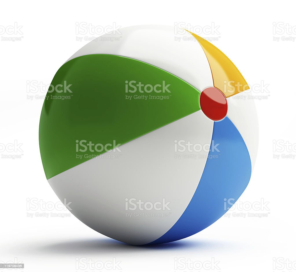 Blown up beach ball with white green and blue colors stock photo