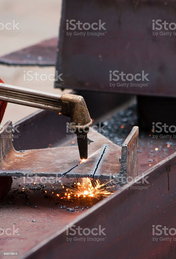 blowtorch on construction site royalty-free stock photo