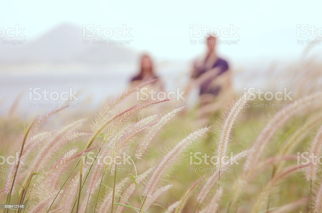 blrred men and woman in Meadow stock photo