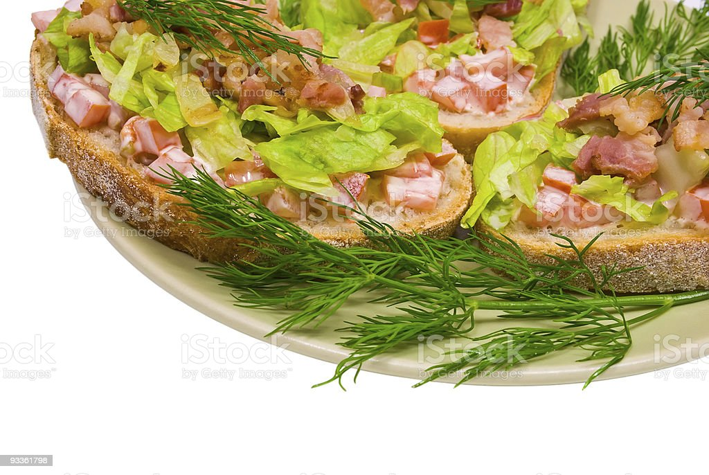 Blt appetizers with bacon lettuce and tomato royalty-free stock photo