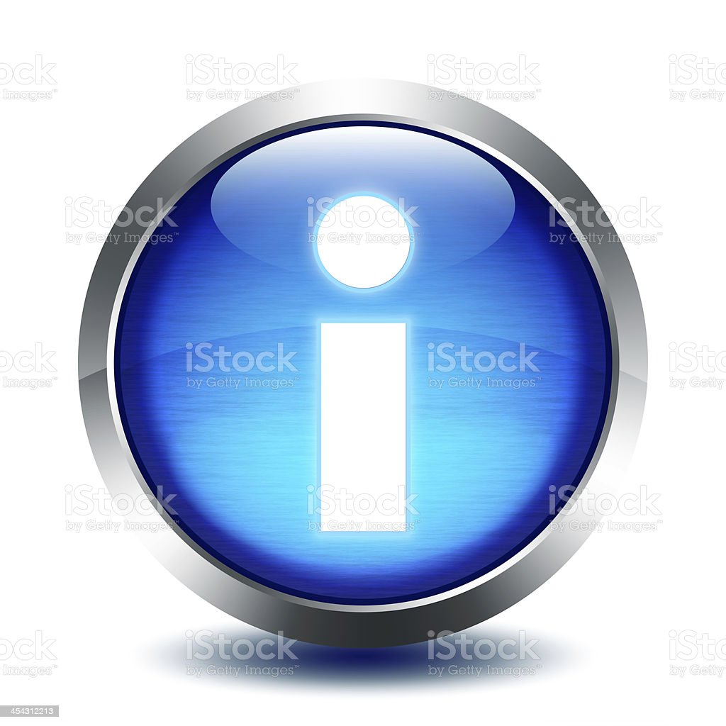 blu glass button - info stock photo