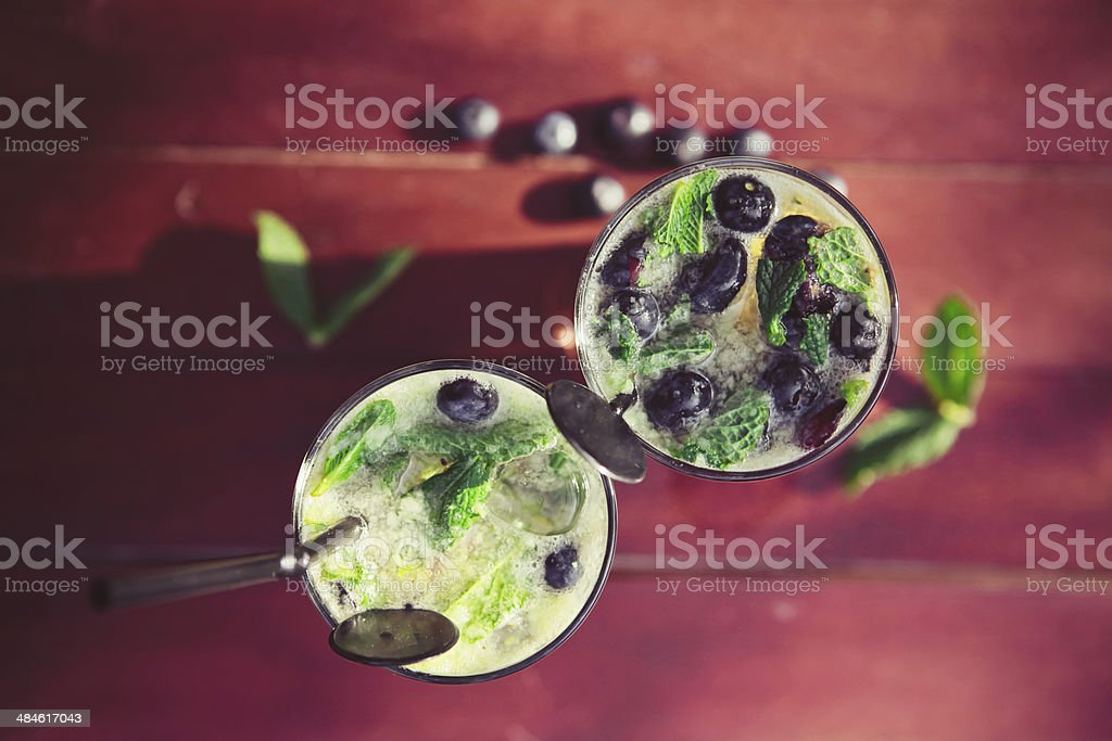 Bluberry & Mint Mojitos stock photo