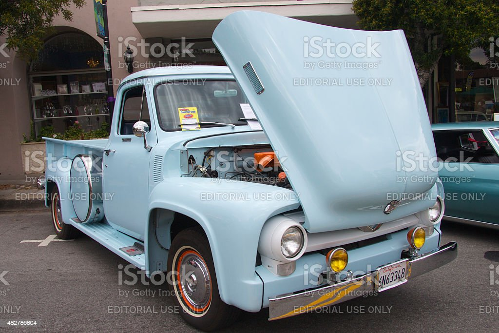 Blue 1955 Ford pickup f 350 stock photo