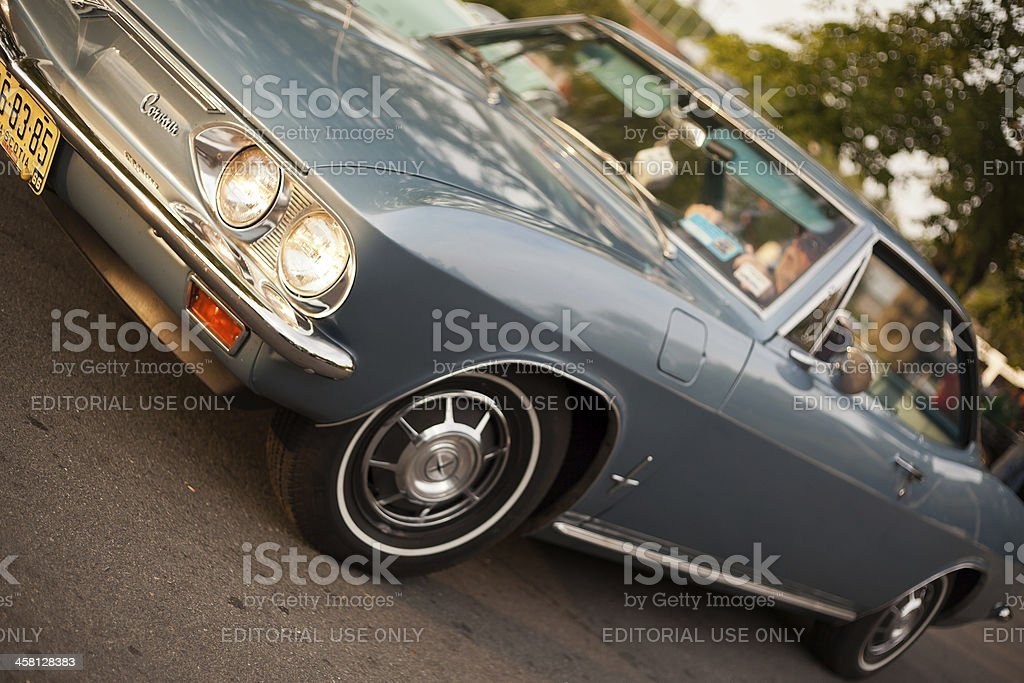 Blue 1966 Chevrolet Corvair stock photo