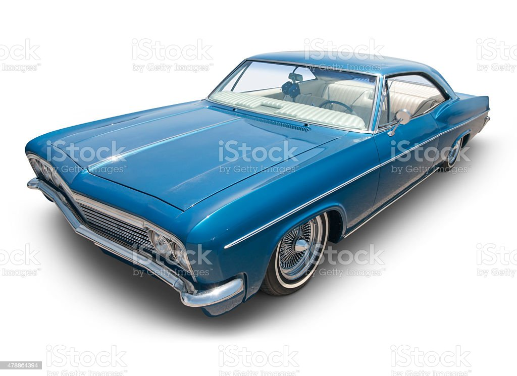 Blue 1966 lowrider, stock photo
