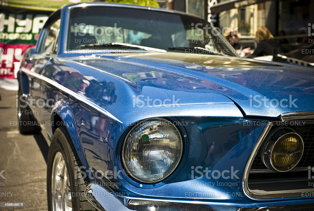 Blue 1967 Ford Mustang GT stock photo