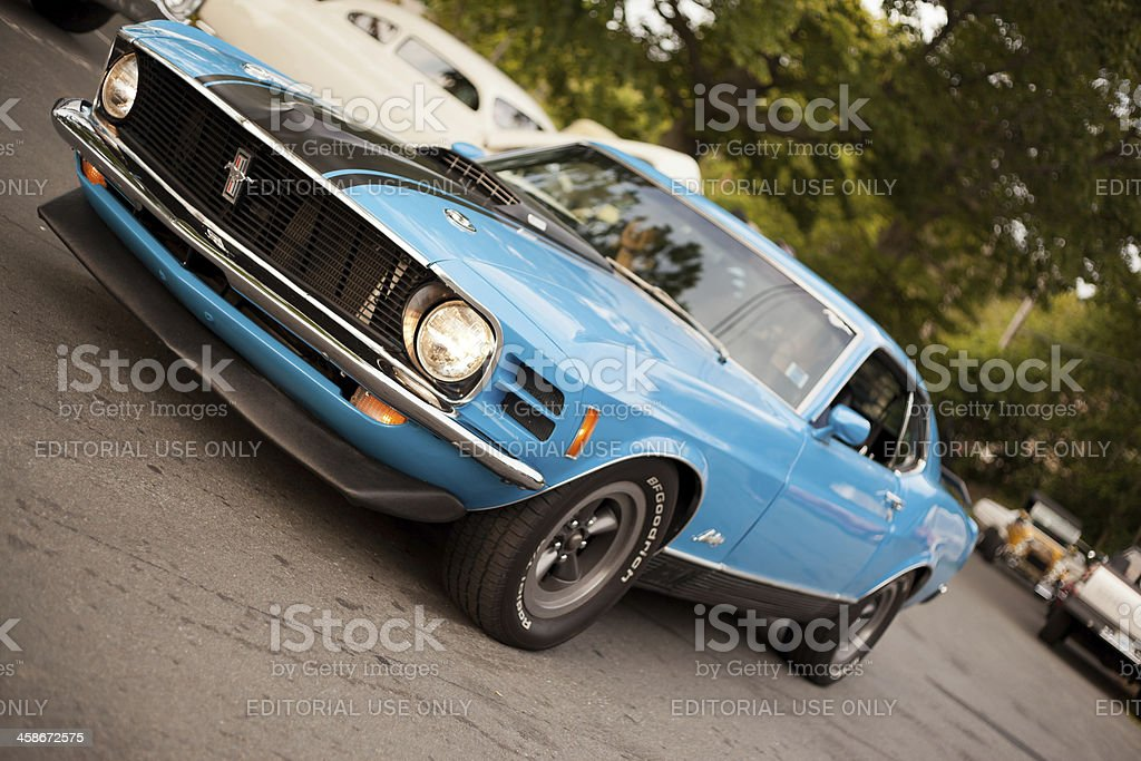 Blue 1970  Ford Mustang Mach 1 stock photo
