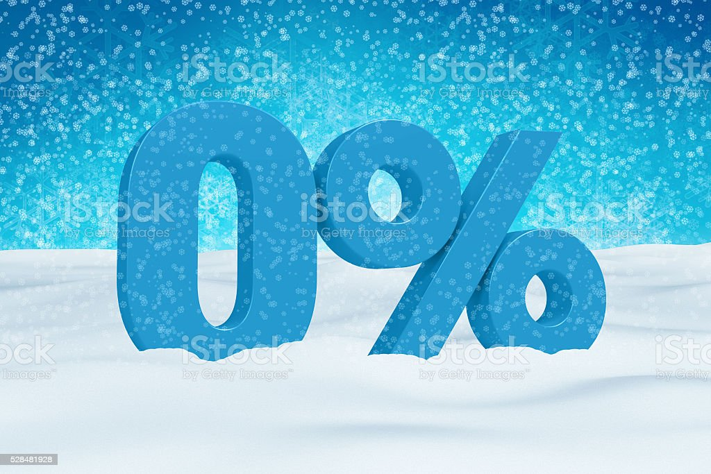 Blue 3d 0% text on snow for winter sale campaigns. stock photo