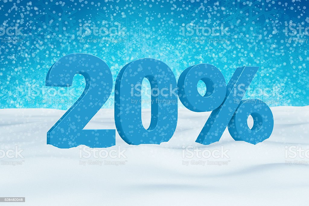 Blue 3d 20% text on snow for winter sale campaigns. stock photo