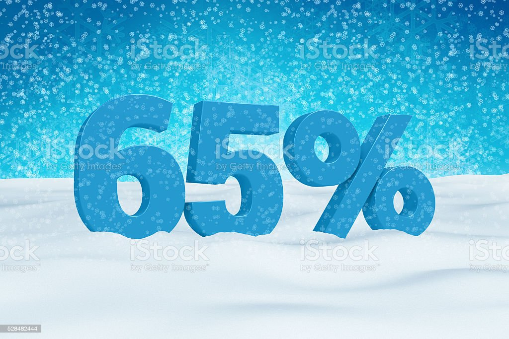 Blue 3d 65% text on snow for winter sale campaigns. stock photo