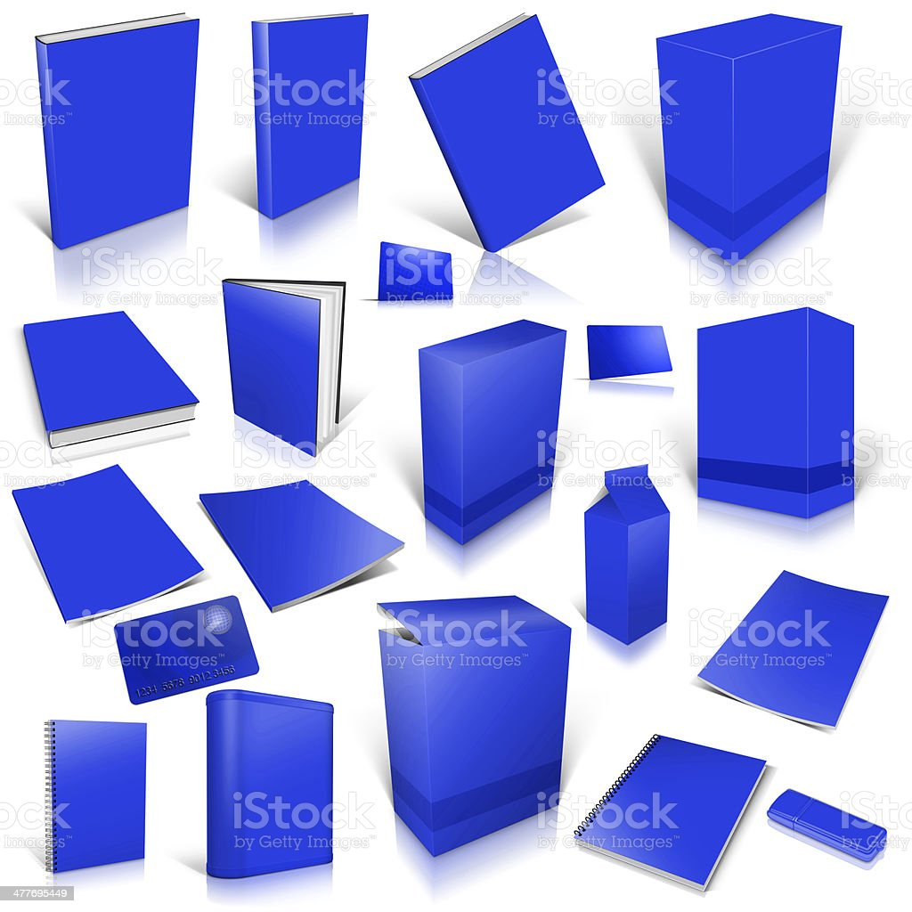 Blue 3d blank cover collection royalty-free stock photo
