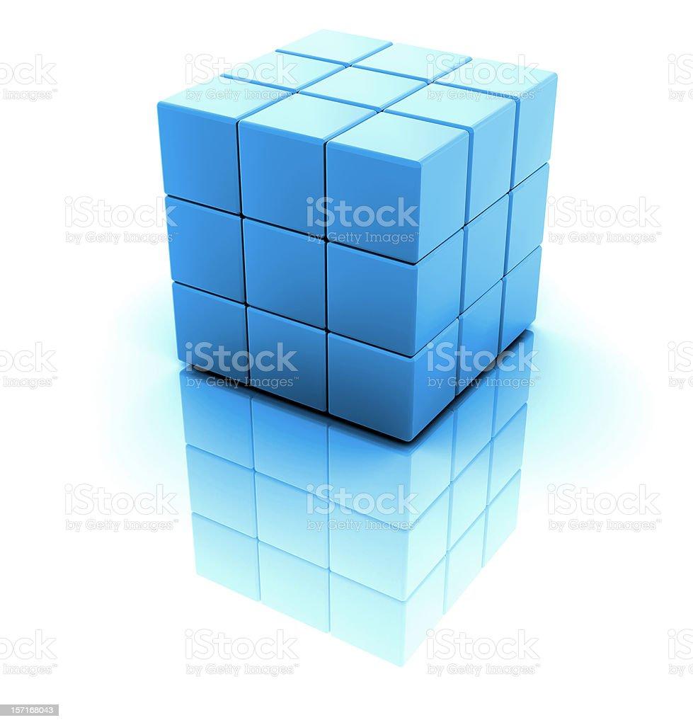 Blue 3D blocks creating a large block royalty-free stock photo