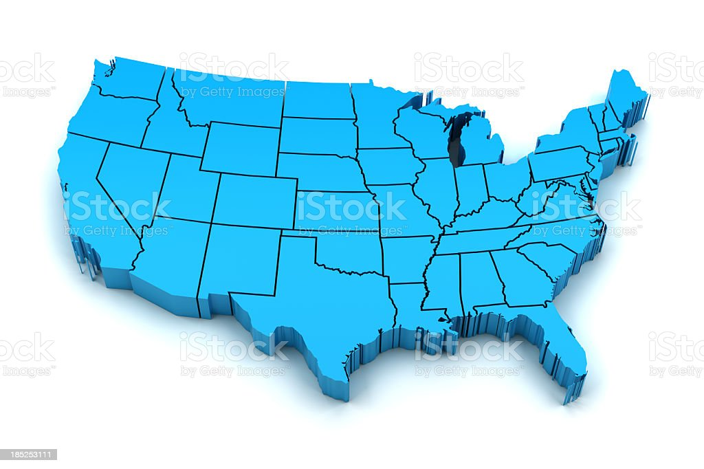 Blue 3D map of America with state borders stock photo