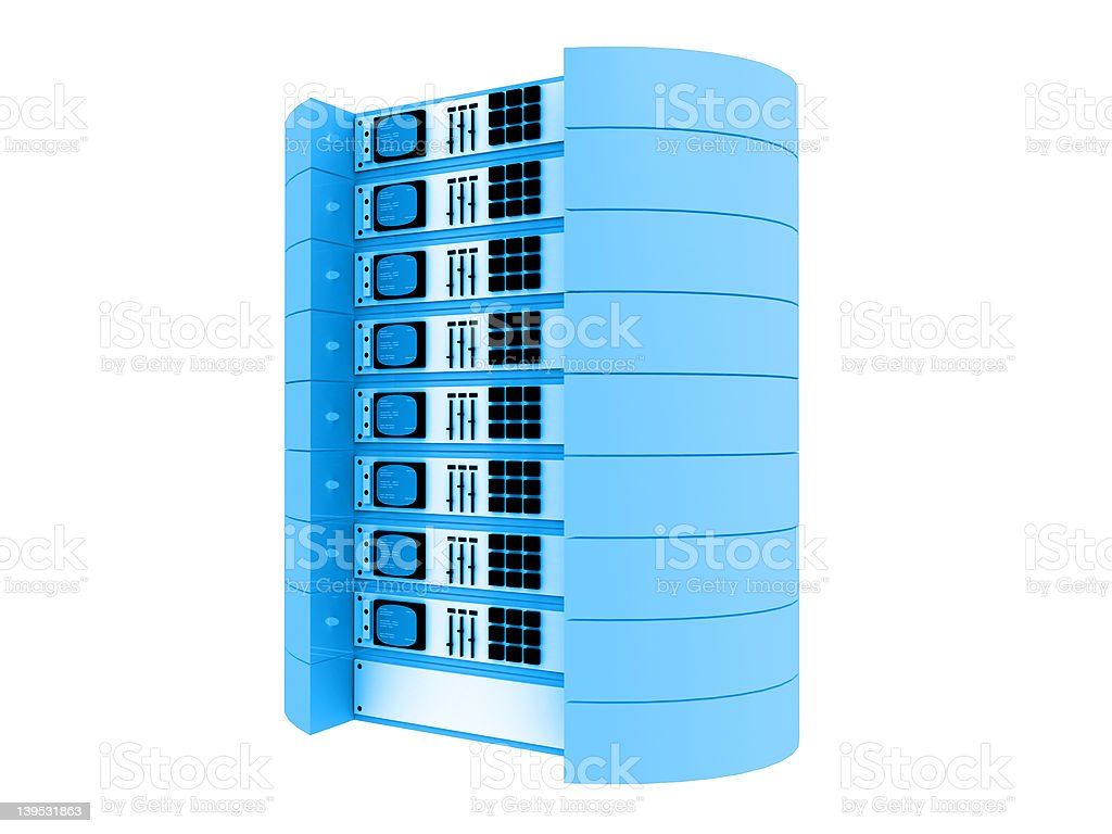 Blue 3d servers royalty-free stock photo