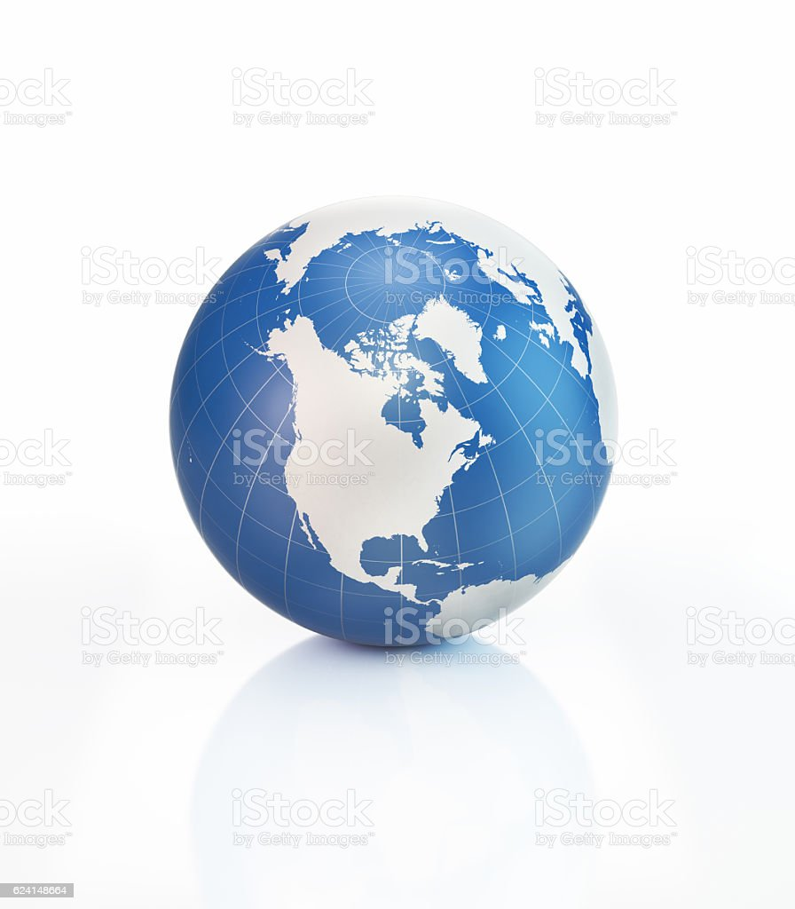 Blue 3D World Object with World Map on White Surface stock photo