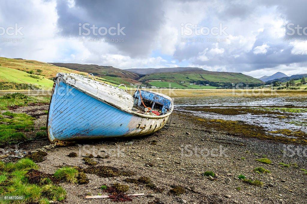 Blue abandoned boat Skye stock photo