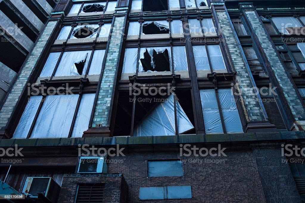 Blue Abandoned Building stock photo