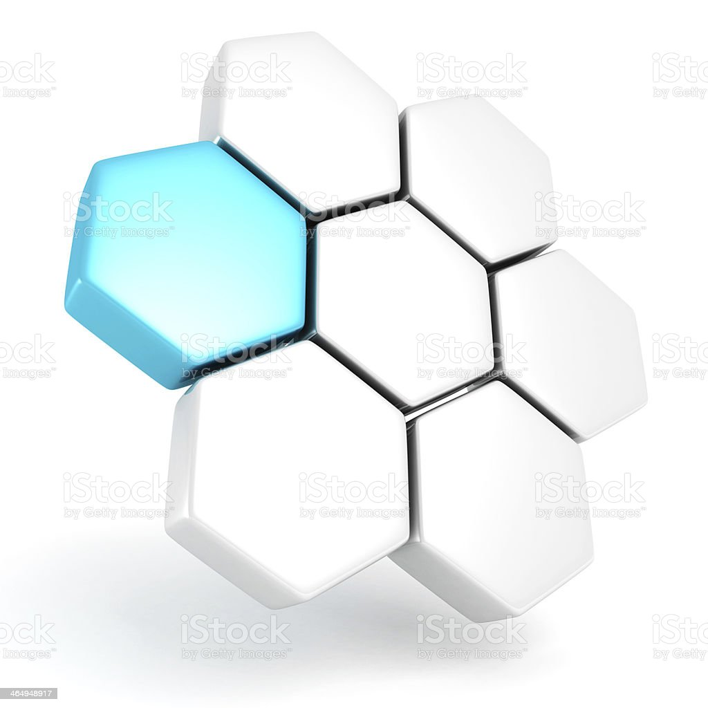 blue abstract 3d hexagons logo design business icon stock photo