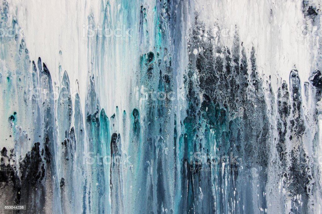 blue abstract acrylic painting on canvas stock photo