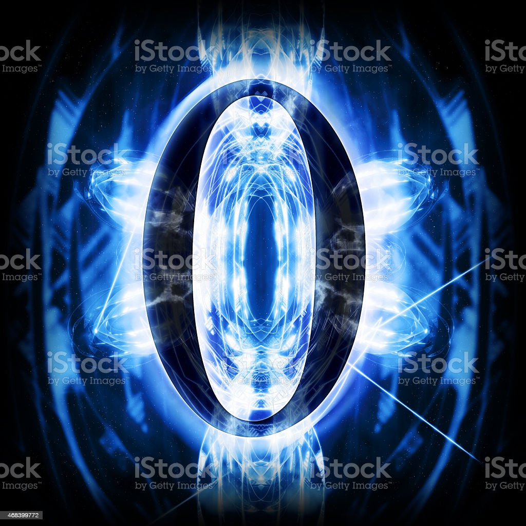 Blue Abstract Digit 0 stock photo