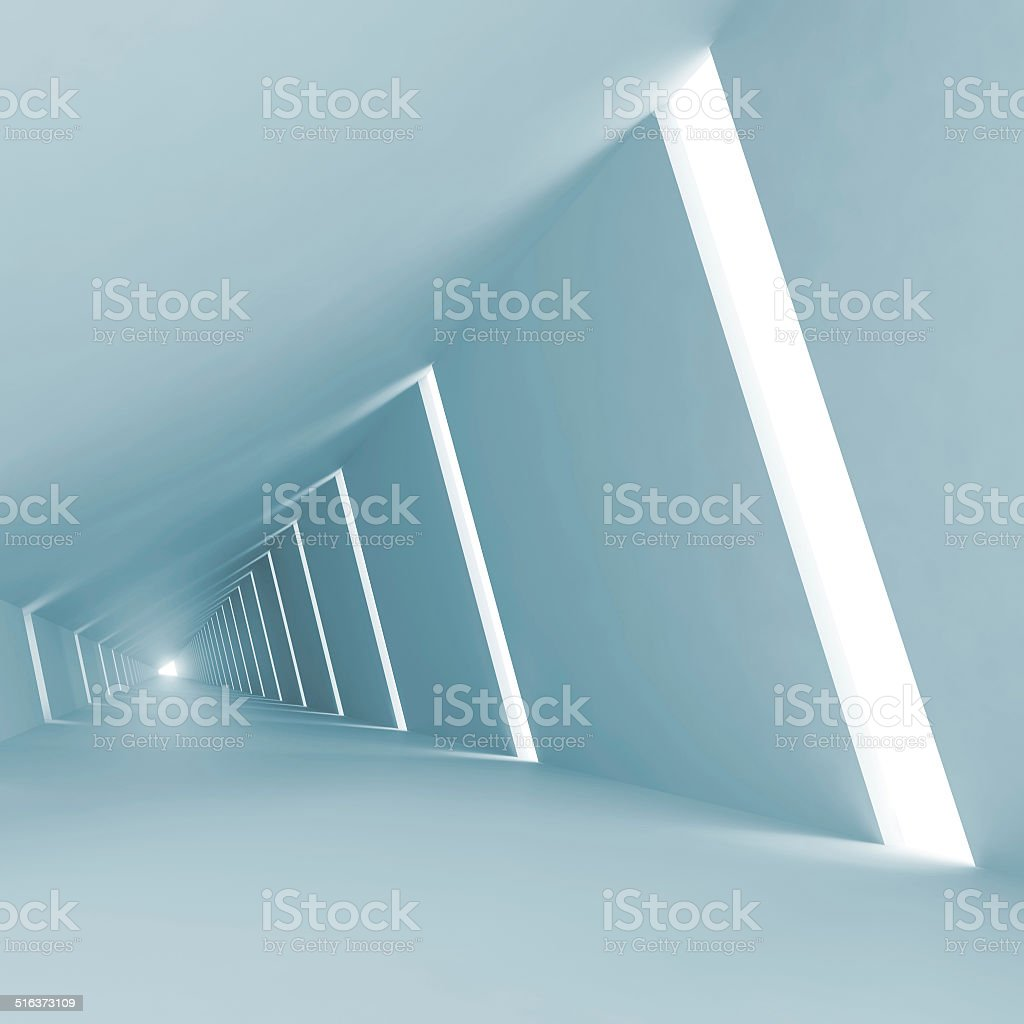 Blue abstract empty 3d interior background with corridor stock photo
