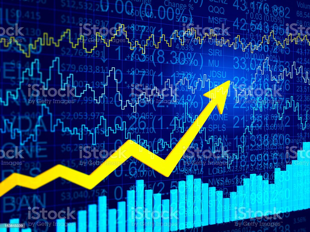 3D blue abstract financial data diagram with a yellow arrow stock photo