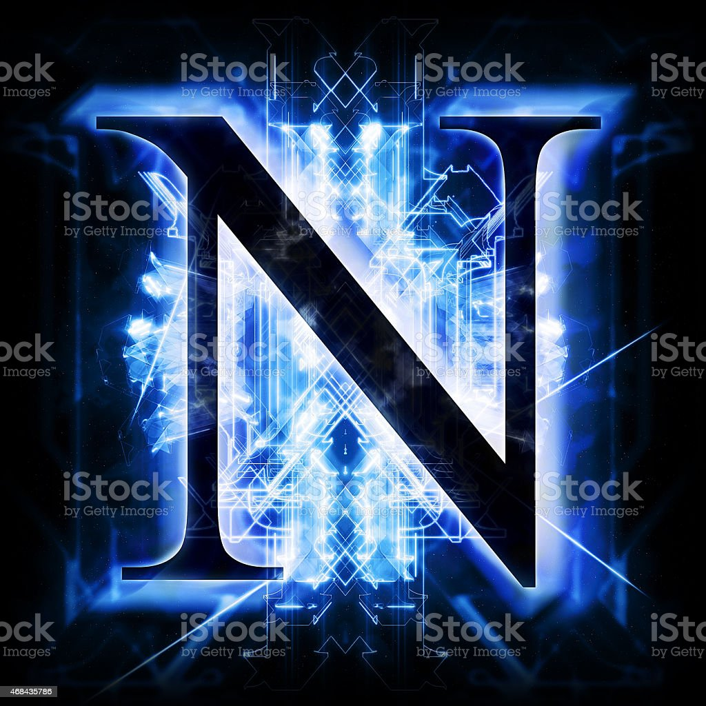 Blue Abstract Letter N stock photo