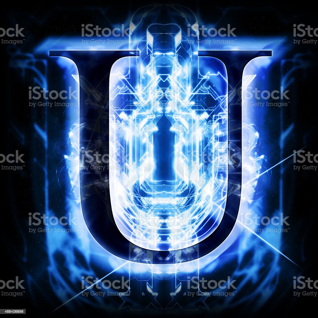 Blue Abstract Letter U stock photo