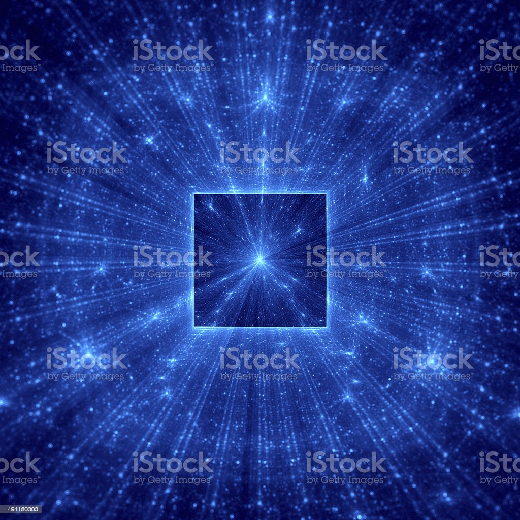 Blue abstract square with blue rays royalty-free stock photo